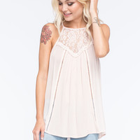 SOCIALITE High Neck Lace Womens Tunic | Tanks