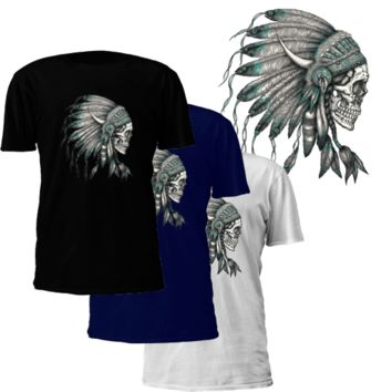 Men's T-Shirt - Skull With Headdress Native American