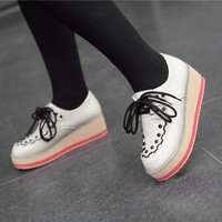 Women's Lace Up Punk Oxford Flat High Platform Creeper Vintage Brogues Shoes