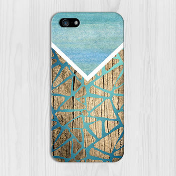 Geometric Gradient Blues x Wood Design Phone Case for iPhone 6 6 Plus iPhone 5 5s 5c 4 4s Samsung Galaxy s6 s5 s4 & s3 and Note 5 4 3 2