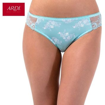 Women's G String With Mid Waist Embroidery Microfiber Floral Print