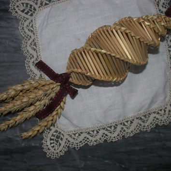 Dark Red Rustic Corn Dolly Decoration for a traditional straw Mother's Day or Easter Gift