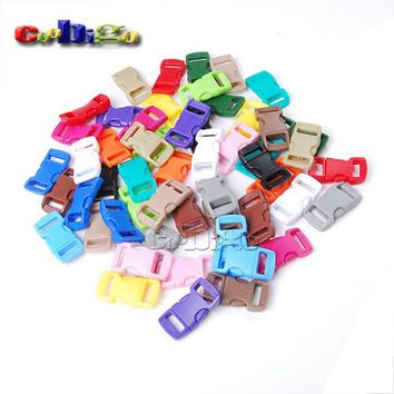 "1000pcs 3/8"" Side Release Buckle Curved Parachute 550 Paracord Bracelet Dog Collar Webbing Outdoor Backpack Bag Parts Colorful"