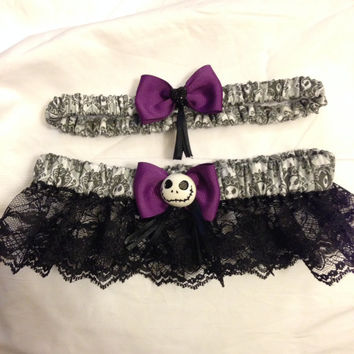 custom nightmare before christmas jack skellington keepsake and toss wedding garter - Nightmare Before Christmas Wedding Rings