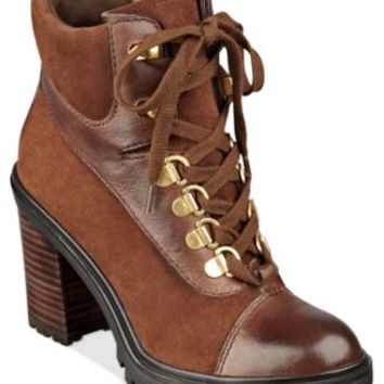 GUESS Giancar Lace-Up Lug Bottom Booties | macys.com