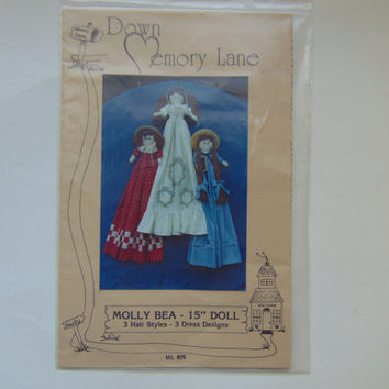 Molly Bea 15 inch Dolls 3 designs by Down Memory Lane Craft Sewing Pattern