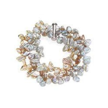 Sterling Silver and Freshwater Keshi Multi-Color Cultured Pearl Strand Bracelet - 7.5 Inch/ 8-9