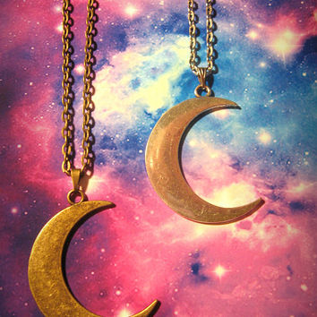 Big Crescent Moon Pendant Necklace, Cosmos, Bohemian, Hippie, Boho, Earthy, Silver, Bronze
