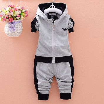 Girls Autumn Clothing Set New Children Cartoon Long Sleeve Hooded Sweatshirts+Pants 2PCS Warm Sport Kids Clothes Suit