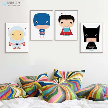 Batman Dark Knight gift Christmas Colorful Cartoon Superhero Movie Batman Superman Captain Posters Prints Boy Kids Room Wall Art Picture Home Deco Canvas Painting AT_71_6