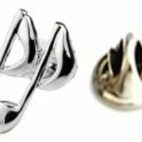 Silver Plated Music Sign Lapel Pin - Buy Now at ProCuffs.com