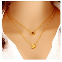 Multi - chain chain necklace big - name temperament five - pointed star moon clavicle chain