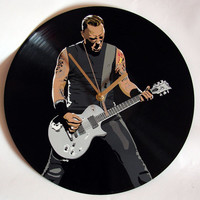 Metallica James Hetfield vinyl record clock. Upcycled music decoration, great gift idea. Handmade