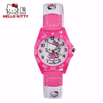 Cute Hello Kitty Watches Gril Lovely Cartoon Watch Kids Children Student Leather Quartz Watch Baby Clock Gift Hour montre enfant