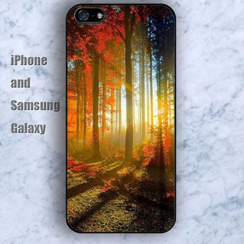 colorful Virgin forest iPhone 5/5S Ipod touch Silicone Rubber Case Phone cover Waterproof