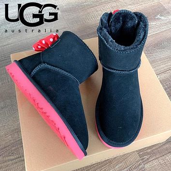 UGG Hot Sale Winter Classic Women Men Bowknot Flat Warm Snow Ankle Boots