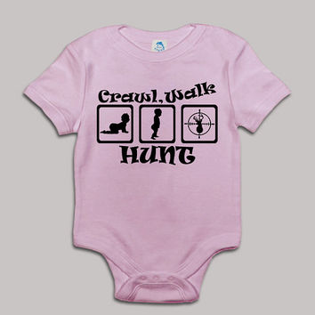 Crawl Walk Hunt Baby Bodysuit Baby Shower Baby Onesuit Baby Suit Baby One New Born Boy Girl Kids Child Children Clothes Gift Present
