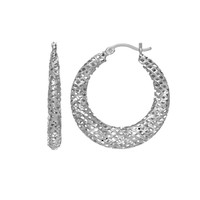 Sterling Silver with Rhodium Finish Stampato Mesh Fancy Round Hoop Earrings