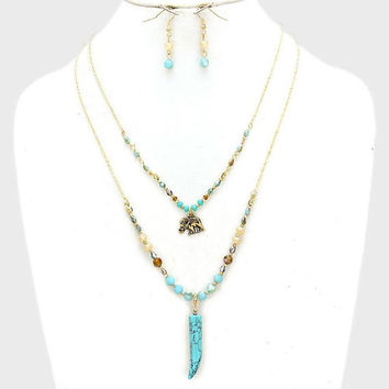 Gold & Turquoise 2-Row Elephant Horn Charm Glass Bead Necklace and Earring Set