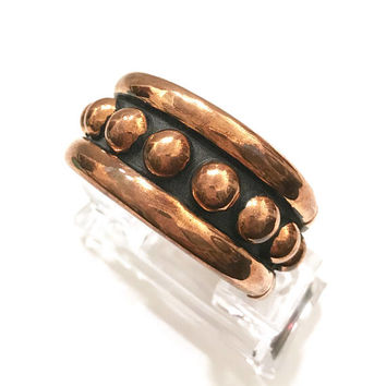 Modernist Taxco Mexican Copper Clamper Bracelet, Big Bold Design, Repousse Bead Bangle, Niello Darkened, Copper Domes, Vintage Gift for Her