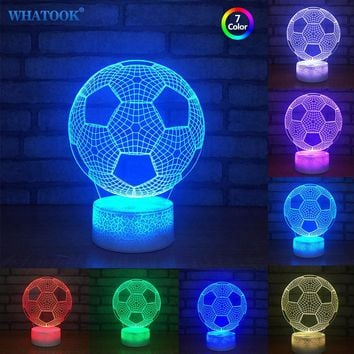 3D World Cup Football Lamp LED Night Lights Multicolor Abajur Lampada LED Lamp Novelty Lighting for Football Club Baby Gifts