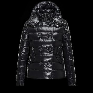 Moncler PLANE Double-Breasted Turtleneck Black Jackets Lacquered Nylon Womens 41382558CE
