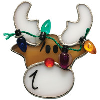 Stained Glass Reindeer Pin