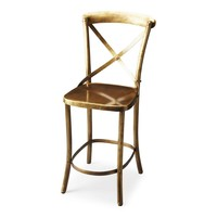 Bennington Transitional Industrial Bar Stool Gold