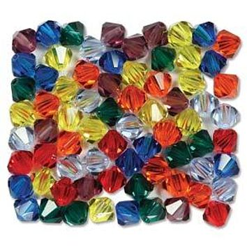 MC30204MIX16 - 4mm Preciosa Bicone Crystal Beads,  Rainbow | Pkg 144