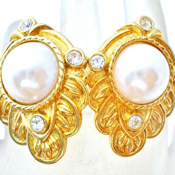 KJL For Avon Pearl & Rhinestone Earrings