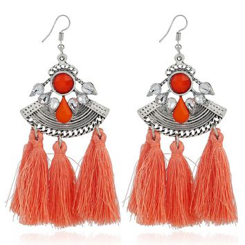 Tassel Fringe Earrings - Coral