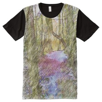 Forest Path drawing effect All-Over-Print T-Shirt