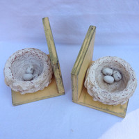 Shabby vintage distressed bird's nest yellow gold bookends bookends French country figurine knick knack