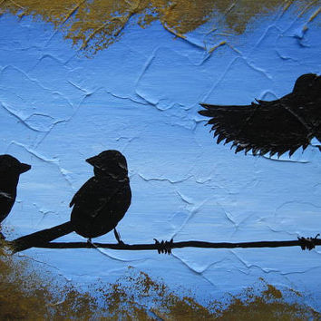 small birds on a wire canvases canvas paintings set bird tiny  art wall decor present gift friend painting blue trees set