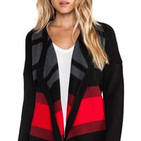 Jack by BB Dakota Collin Striped Cardigan in Black