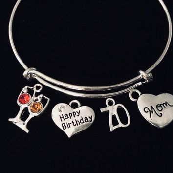 Happy 70th Birthday Jewelry Mom Expandable Silver Charm Bracelet Adjustable Bangle One Size Fits All Gift Crystal Red and White Wine Glass 70 Seventy