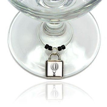 Hot Air Balloon Wine Glass Silver Charm
