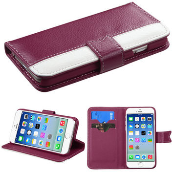 Book-Style Premium Flip Wallet iPhone 6 Case - Hot Pink/White
