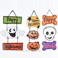 1Pcs Halloween ghost pumpkin triple skull pendant ornaments hanging flags decorative cardboard Door Halloween Party Supplies