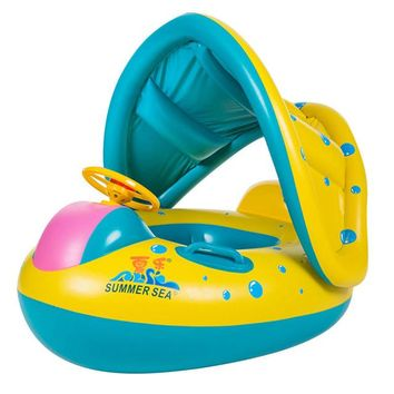 Swimming Pool beach Safe Inflatable Baby Swimming Ring Pool Infant  Float Adjustable Sunshade Seat Baby Bathing Circle Inflatable WheelSwimming Pool beach KO_14_1