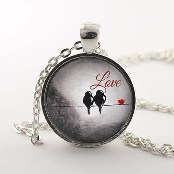 Love Birds Pendant Necklace Anniversary Gift Love Jewelry Love Necklace Love Birds Necklace Glass Necklace Bird Art Bird on a Wire Necklace