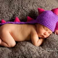 Dinosaur Baby Hat, Baby Girl Dragon Hat, Crochet Costume, Photo Prop - choice of colors
