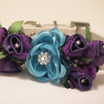 Blue Purple Wedding Dog Collar, Wedding Dog, blue floral wedding ideas