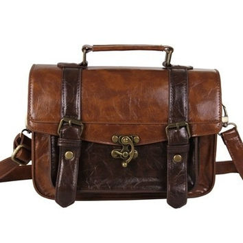 Ecosusi Women Vintage Messenger Bag Leather Satchel Briefcase Handbag [8403192711]