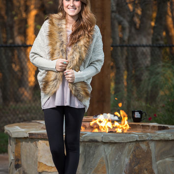 Fur trim cable knit cardigan