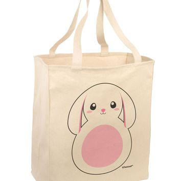 TooLoud Cute Bunny with Floppy Ears - Pink Large Grocery Tote Bag