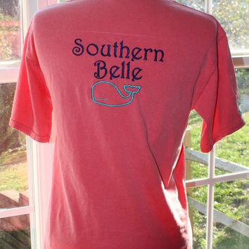 Short Sleeve Southern Belle Monogrammed Pocket Tees with Whale
