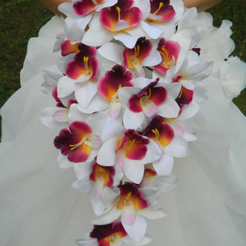 Orchid Bouquet, Cascade, purple, plum, lavender, white, cymbidium orchid, bride, bridal, waterfall