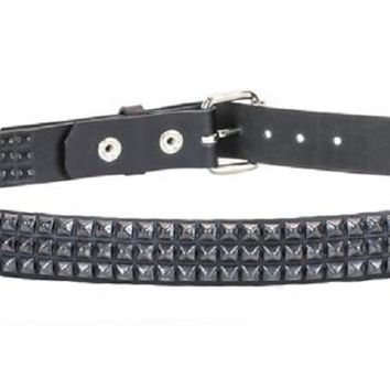 "3-Row Black Mini Pyramid Stud Leather Belt 1"" Wide"