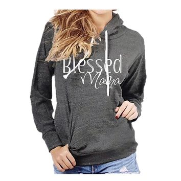 Blessed Mama Women's Hooded Sweatshirt SFE Autumn Winter Warm Women Hooded Pullover Tops Blouse